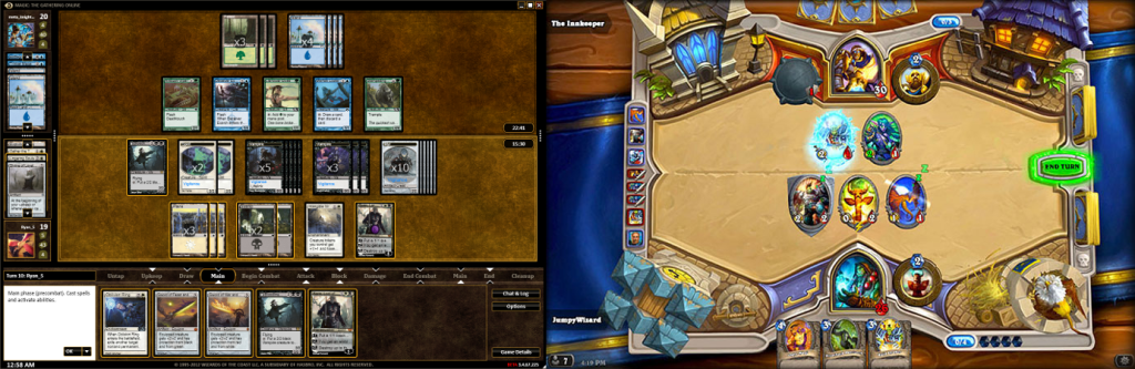 dated complexity (Magic, left) vs sleek simplicity (Hearthstone, right)